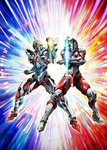 2boys armor clenched_hand commentary_request company_connection crossover glowing glowing_eyes gridman_(ssss) highres multiple_boys official_art orb pose shoulder_armor ssss.gridman ultra_series ultraman ultraman_(hero's_comics) yellow_eyes