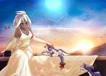 1girl ahoge anger_vein bad_id bad_pixiv_id blush breasts bridal_gauntlets cleavage dark_skin dress elbow_gloves full_moon gloves granblue_fantasy hair_up heart highres large_breasts long_dress mini_dragon moon petting red_eyes shousumi_(ljayxh) smile solo sunset wedding_dress white_dress white_gloves white_hair zooey_(granblue_fantasy)
