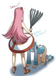 /\/\/\ all_fours anemone_(eureka_seven) anger_vein bare_arms bare_shoulders blue_dress blue_hair dress eureka eureka_seven_(series) fan harisen highres holding holding_fan kakkii long_hair long_sleeves pink_hair shoes skirt standing translation_request