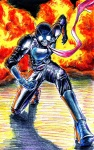 1boy bad_id bad_pixiv_id blue_footwear boots explosion highres kamen_rider kamen_rider_1 kamen_rider_the_first male_focus scarf solo traditional_media