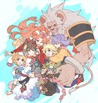 3boys 3girls animal_ears armor big_hair commentary_request elena_(grandia) friends grandia grandia_ii hamagurihime high_ponytail holding_hands mareg_(grandia) millenia_(grandia) multiple_boys multiple_girls roan_(grandia) ryudo_(grandia) size_difference spiked_hair tio_(grandia)