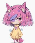 1girl :o animal animal_ear_fluff animal_ears asymmetrical_legwear barefoot bear blush chibi cottontailtokki dress eyepatch full_body grey_background hair_ornament highres long_hair long_sleeves looking_at_viewer multicolored_hair no_shoes original parted_lips pink_eyes pink_hair pink_legwear purple_hair purple_ribbon ribbon ribbon-trimmed_sleeves ribbon_trim single_thighhigh solo standing star star_hair_ornament streaked_hair thighhighs wide_sleeves yellow_dress
