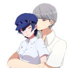 1boy 1girl blue_eyes blue_hair blush couple earrings grey_eyes grey_hair hetero highres iketsuko jewelry narukami_yuu persona persona_4 school_uniform shirogane_naoto short_hair wince