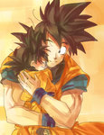2boys ake_(ake54) black_eyes black_hair closed_eyes dougi dragon_ball dragon_ball_z eyebrows_visible_through_hair father_and_son happy hug looking_at_another male_focus multiple_boys one_eye_closed orange_background simple_background smile son_gokuu son_goten spiked_hair traditional_media watercolor_(medium) wristband