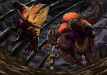 absurdres ambiguous_gender armor beetle blonde_hair brave_(armor) claws daji_yaozi dark_clouds deviljho flying from_behind full_armor fur glowing glowing_eyes highres holding holding_weapon horns insect_glaive jaw jumping long_hair monkey monster monster_hunter monster_hunter_4 open_mouth polearm rajang red_eyes sharp_teeth tail teeth tyrannosaurus_rex walking weapon wyvern