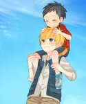 2boys age_difference black_eyes black_hair blonde_hair carrying closed_eyes grin highres male_focus multiple_boys original shirt shoes shorts shoulder_carry smile sneakers touyama_(t3yama2) vest