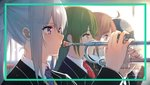 closed_mouth glasses green_hair highres higuchi_kaede holding holding_instrument instrument isshiki_(ffmania7) long_hair mole mole_under_eye multiple_girls necktie nijisanji ponytail purple_eyes purple_neckwear red_neckwear silver_hair trumpet virtual_youtuber