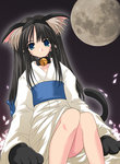 1girl animal_ears bell bell_collar black_hair blue_eyes cat_ears cat_tail collar full_moon gloves japanese_clothes jingle_bell jpeg_artifacts looking_at_viewer moon naipeta paw_gloves petals solo tail toono_akiha tsukihime whiskers