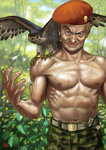 1boy belt beret bird blue_eyes bust camouflage camouflage_pants dated feathers hat looking_at_viewer male matataku muscle navel old_man original pants plant scar shirtless signature smile wrinkles