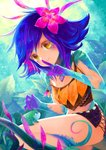 1girl blue_hair commentary_request flower frog grass hair_flower hair_ornament highres index_finger_raised jewelry leaf league_of_legends midriff miniskirt mootie necklace neeko_(league_of_legends) outdoors skirt strap_slip tank_top yellow_eyes