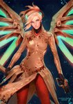 1girl alternate_costume backlighting blonde_hair blue_background blue_eyes bodysuit breasts brown_bodysuit cowboy_shot dual_wielding faulds fortune_mercy glowing glowing_wings green_wings gun handgun high_ponytail highres holding holding_gun holding_staff holding_weapon light_particles lips looking_at_viewer mechanical_halo mechanical_wings medium_breasts mercy_(overwatch) nose overwatch pantyhose pelvic_curtain pistol randgris red_legwear solo staff weapon wings