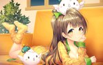 1girl bangs bow breasts brown_hair chin_rest cleavage couch feet_up green_bow grey_hair hair_bow indoors kokkeina_budou long_hair long_sleeves looking_at_viewer love_live! love_live!_school_idol_festival love_live!_school_idol_project lying minami_kotori minami_kotori_(bird) night object_on_head on_stomach one_side_up open_clothes open_shirt plaid_pajamas smile socks solo sparkle yellow_eyes yellow_legwear