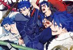 1boy angry armor blue_hair chest_tattoo cloak collar collarbone commentary costume cu_chulainn_(fate/grand_order) cu_chulainn_(fate/prototype) cu_chulainn_alter_(fate/grand_order) earrings facial_tattoo fangs fate/grand_order fate/prototype fate/stay_night fate_(series) fur gae_bolg gloves holding holding_weapon hood hood_up hooded_cloak jewelry lancer long_hair long_sleeves looking_to_the_side male_focus medallion open_mouth polearm ponytail red_eyes screaming shoulder_pads smile spear tatsuta_age tattoo teeth weapon