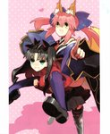 2girls animal_ears aqua_eyes black_hair bow carrying fate/extra fate_(series) fox_girl fox_tail frustrated highres japanese_clothes kimono multiple_girls official_art open_mouth piggyback pink_hair pointing scan shoes skirt tail tamamo_(fate)_(all) tamamo_no_mae_(fate) thighhighs toosaka_rin turtleneck twintails wada_aruko yellow_eyes