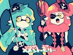 2girls aqua_eyes aqua_hair blush commentary_request domino_mask gears hair_ornament inkling mask multiple_girls nana_(raiupika) pink_eyes pink_hair polearm scythe splatoon tentacle_hair trident weapon