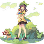 1girl black_skirt box brown_hair brown_shoes brown_skirt carrying_bag chespin closed_eyes creature eating faux_figurine food full_body green_hat hat holding icywood looking_at_viewer miniskirt personification pleated_skirt poffin pokemon pokemon_(creature) round_teeth shoes skirt standing tail teeth yellow_eyes