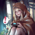 ! 1girl >:) animal_costume blonde_hair blurry blush brown_eyes cola commentary_request depth_of_field doma_umaru drooling hamster_costume himouto!_umaru-chan kaburagi_yasutaka knees_up long_hair neet parted_lips playing_games playstation_controller realistic saliva sitting smile soda_bottle solo spoken_exclamation_mark