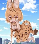1girl :d animal_ears animal_print bangs bare_shoulders belt black_belt blue_sky blurry bow bowtie breasts building cloud day depth_of_field eyebrows eyebrows_visible_through_hair eyelashes fang giantess gloves hair_between_eyes hand_up high-waist_skirt kemono_friends kolshica medium_breasts multicolored multicolored_bow multicolored_clothes multicolored_gloves multicolored_hair multicolored_legwear multicolored_neckwear multicolored_skirt open_mouth orange_bow orange_eyes orange_gloves orange_hair orange_legwear orange_neckwear orange_skirt outdoors paw_pose serval_(kemono_friends) serval_ears serval_print serval_tail shirt short_hair skirt sky sleeveless sleeveless_shirt smile solo striped_tail tail thighhighs tree white_bow white_gloves white_legwear white_neckwear white_shirt zettai_ryouiki