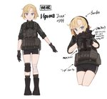 1girl absurdres aks-74u assault_rifle bandaged_leg bandages bike_shorts blonde_hair blue_eyes boots character_sheet commentary directional_arrow dragoncastle ear_protection english_text escape_from_tarkov eyebrows_visible_through_hair gloves gun highres holding holding_gun holding_weapon kneehighs korean_text load_bearing_vest original rifle russian_text short_hair single_knee_pad weapon white_background