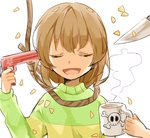 androgynous brown_hair chara_(undertale) closed_eyes commentary_request cup gun gun_to_head knife misha_(hoongju) mug noose open_mouth petals poison smile striped suicide undertale weapon