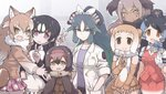 6+girls :d animal_ears black_hair blue_hair blue_neckwear bow bowtie breast_pocket brown_eyes brown_gloves brown_hair collarbone collared_shirt commentary_request dodo_(kemono_friends) ear_piercing elbow_gloves empty_eyes extra_ears eyebrows_visible_through_hair facepaint fang fingerless_gloves fur_collar gloves gradient_hair great_auk_(kemono_friends) green_hair hair_ribbon hand_in_pocket hat head_wings japanese_otter_(kemono_friends) japanese_wolf_(kemono_friends) japari_symbol japari_symbol_print kako_(kemono_friends) kemono_friends labcoat long_hair long_sleeves looking_at_viewer miniskirt mojibake_commentary multicolored_hair multiple_girls north_island_giant_moa_(kemono_friends) open_mouth orange_eyes otter_ears otter_tail passenger_pigeon_(kemono_friends) pen_in_pocket pencil_skirt piercing pink_hair plaid plaid_neckwear plaid_skirt pleated_skirt pocket purple_eyes red_vest ribbon sailor_collar shirt short_sleeves skirt sleeveless sleeveless_shirt smile spotted_hair tail tanaka_kusao thighhighs two-tone_hair v vest white_gloves white_hair white_ribbon wolf_ears yellow_eyes zettai_ryouiki