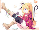 1girl animal_ears arm_belt black_gloves black_legwear blonde_hair blue_eyes brown_footwear butterfly cat_ears cat_tail cup dungeon_and_fighter fingerless_gloves fish gloves leg_up long_hair mug pink_scarf scarf seaweed solo tail thighhighs vils