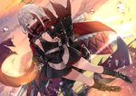 1girl admiral_graf_spee_(azur_lane) azur_lane bangs black_dress black_legwear blue_eyes blunt_bangs breasts commentary_request dress dutch_angle eyebrows_visible_through_hair hand_up highres long_sleeves looking_at_viewer mafuyu_(chibi21) mechanical_gloves mechanical_tail multicolored_hair outdoors red_hair rigging scarf short_hair sidelocks silver_hair small_breasts solo streaked_hair sunset tail wind wind_lift