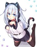 animal_band_legwear axent_wear black_legwear blue_eyes blue_skirt cat_band_legwear cat_ear_headphones cat_tail headphones hibiki_(kantai_collection) highres kantai_collection kneeling long_hair long_sleeves looking_at_viewer paw_pose paw_print reitou_mikan school_uniform serafuku skirt tail thighhighs verniy_(kantai_collection) white_background white_hair zettai_ryouiki