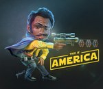 1boy 2018 actor_connection aiming america beard black_hair cape card chibi childish_gambino commentary crossover dancing dark_skin dated donald_glover energy_gun english_commentary facial_hair hans_tsai lando_calrissian logo mustache parody ray_gun realistic sabacc scarf science_fiction scope shoes sideburns signature solo:_a_star_wars_story star_wars this_is_america weapon