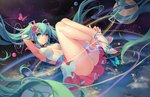 1girl absurdly_long_hair ahoge aqua_eyes armpits artist_name atdan breasts bug butterfly feet flower green_hair hair_flower hair_ornament hatsune_miku heart heart-shaped_pupils high_heels insect long_hair looking_at_viewer md5_mismatch medium_breasts open_toe_shoes panties sandals shoes sideboob skirt smile solo symbol-shaped_pupils toes twintails underwear very_long_hair vocaloid