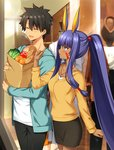 1boy 1girl animal_ears any_(trueblue) apple bag black_hair black_pants black_skirt blue_eyes blue_jacket blush bread breasts casual closed_eyes collarbone commentary_request dark_skin eyebrows_visible_through_hair facial_mark fate/grand_order fate_(series) food fruit fujimaru_ritsuka_(male) hair_between_eyes hair_ribbon holding jackal_ears jacket long_hair medium_breasts nitocris_(fate/grand_order) open_clothes open_mouth orange pants paper_bag ponytail purple_hair red_ribbon ribbon shirt shopping skirt spiked_hair white_shirt