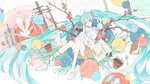 1girl absurdres ahoge aqua_eyes aqua_hair bag bangs bird bloomers blue_sailor_collar book branch brown_bloomers brown_skirt bunny camera castanet_(ranhoujun) cellphone cherry_blossoms chromatic_aberration commentary dove film_grain floating floating_object flower_pot hair_ornament hair_scrunchie hatsune_miku highres holding holding_camera leaf letter long_hair looking_at_viewer mirror phone picture_frame pink_scrunchie plant power_lines sailor_collar sayonara_kaerimichi_(vocaloid) scrunchie shirt shoes short_sleeves shovel skirt smartphone tote_bag tree_branch twintails underwear very_long_hair vines vocaloid white_footwear white_shirt yukine_(vocaloid)