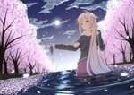 1girl blonde_hair blue_eyes cherry_blossoms cherry_trees cloud detached_sleeves gradient_hair highres ia_(vocaloid) long_hair moon multicolored_hair night pink_hair pleated_skirt reflection skirt solo tsuhiki_koyomi very_long_hair vocaloid wading water