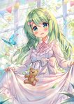 1girl :d akabane_(zebrasmise) animal bear_hair_ornament blush bow breasts bug butterfly collared_dress commentary dress flower green_eyes green_hair hair_bow hair_flower hair_ornament head_tilt highres indoors insect leaves_in_wind long_dress long_hair long_sleeves looking_at_viewer morinaka_kazaki neck_ribbon nijisanji open_mouth pennant pink_bow puffy_long_sleeves puffy_sleeves ribbon skirt_basket skirt_hold sleeves_past_wrists small_breasts smile solo sparkle star string_of_flags stuffed_animal stuffed_toy teddy_bear tree very_long_hair virtual_youtuber white_dress white_flower window