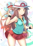 1girl aqua_shirt bag bare_shoulders blue_(pokemon) blue_shirt blush breasts commentary_request covered_navel cowboy_shot hat holding holding_poke_ball long_hair looking_at_viewer medium_breasts miniskirt orange_eyes pleated_skirt poke_ball poke_ball_(generic) poke_ball_print pokemon pokemon_(game) pokemon_frlg print_hat racket_ti1 red_skirt shirt skirt sleeveless sleeveless_shirt smile solo_focus squirtle sun_hat super_smash_bros. super_smash_bros_ultimate translation_request very_long_hair white_hat wind wind_lift wristband