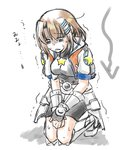 1girl belt bike_shorts blue_eyes breasts brown_hair cosplay dasuto directional_arrow faulds gauntlets hair_ornament hairclip jacket kneeling lyrical_nanoha mahou_shoujo_lyrical_nanoha_vivid miura_rinaldi miura_rinaldi_(cosplay) open_mouth pain parody short_hair short_sleeves solo star track_jacket translated trembling uu~ yagami_hayate