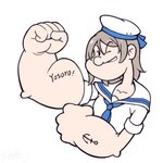 1girl anchor_tattoo arm_up bangs blue_neckwear brown_hair clenched_hands collarbone commentary english_commentary eyebrows_visible_through_hair grin hair_between_eyes hat langbazi long_hair looking_at_viewer love_live! love_live!_sunshine!! muscle muscular_female neckerchief one_eye_closed parody popeye popeye_the_sailor sailor_collar sailor_hat shirt short_sleeves simple_background smile solo style_parody tattoo watanabe_you white_background white_hat white_sailor_collar white_shirt