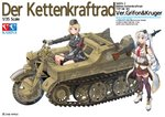2girls absurdres bangs blonde_hair commentary_request eyebrows_visible_through_hair german_clothes girls_frontline gloves ground_vehicle gun half-track hat highres kettenkrad kirochef long_hair machine_gun mg42 mg42_(girls_frontline) military military_hat military_uniform military_vehicle motor_vehicle motorcycle mp40_(girls_frontline) multiple_girls necktie open_mouth pleated_skirt purple_eyes ranguage rifle short_hair silver_hair skirt thighhighs translation_request twintails uniform weapon