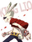 1boy animal_ears blonde_hair bunny_ears c_han25 cosplay fingerless_gloves gloves goggles goggles_on_head green_hair highres king_kazuma king_kazuma_(cosplay) lio_fotia looking_at_viewer male_focus promare purple_eyes simple_background solo summer_wars vest white_background