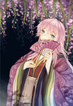 1girl bad_id bad_pixiv_id blue_eyes fan flower folding_fan highres koyuiko long_hair megurine_luka paper_fan pink_hair solo vocaloid wisteria