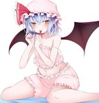 1girl bangs bare_arms bare_legs bare_shoulders bat_wings bed_sheet black_wings bloomers blue_hair blush breasts buta_(uhoiiotoko) camisole cleavage collarbone commentary_request eyebrows_visible_through_hair finger_licking finger_to_mouth fingernails fingers frilled_ribbon frills groin hair_between_eyes half-closed_eyes hands_up hat hat_ribbon highres licking long_fingernails mob_cap nail_polish navel pointy_ears red_eyes red_nails red_ribbon remilia_scarlet ribbon short_hair simple_background sitting small_breasts solo spaghetti_strap spread_wings stomach strap_slip tongue tongue_out touhou underwear wariza white_background wings