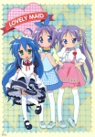 3girls alternate_costume anna_miller apron enmaided highres hiiragi_kagami hiiragi_tsukasa izumi_konata koubeya_uniform lucky_star maid mole mole_under_eye multiple_girls plaid plaid_apron purple_hair thighhighs waitress yamada_naoko