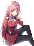 1girl absurdres black_legwear bloom breasts candy commentary cropped_legs darling_in_the_franxx disconnected_mouth double-breasted dress eyebrows_visible_through_hair food green_eyes hairband hand_up highres holding_lollipop horns invisible_chair lollipop long_hair medium_breasts military military_uniform oni_horns orange_neckwear pantyhose pink_hair red_dress red_horns simple_background sitting smile solo tongue tongue_out uniform white_background white_hairband yanggang zero_two_(darling_in_the_franxx)
