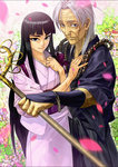 1boy 1girl aotsuki_shigure aotsuki_sumako beads black_hair couple grey_hair hetero highres husband_and_wife japanese_clothes kimono long_hair oropi petals prayer_beads scar shakujou staff ushio_to_tora
