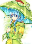 1girl :o animal_themed_umbrella backpack bag blue_eyes blue_hair braid copyright_request frog green_coat green_hairband hair_ornament holding holding_umbrella looking_at_viewer polka_dot rain randoseru rento_(rukeai) solo twitter_username umbrella