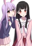 2girls animal_ears arm_up bangs black_hair blazer blouse blunt_bangs blush bow bowtie bunny_ears commentary_request cowboy_shot eyebrows_visible_through_hair hair_between_eyes hand_on_own_chest hand_on_own_face head_tilt highres hime_cut houraisan_kaguya jacket lavender_hair lavender_skirt long_hair long_sleeves looking_at_viewer miniskirt multiple_girls necktie pink_blouse pleated_skirt red_eyes red_neckwear red_skirt reisen_udongein_inaba shirt sidelocks simple_background skirt standing touhou triangle_mouth tsukimirin v_arms very_long_hair whispering white_background white_neckwear white_shirt wide-eyed wing_collar