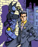 araki_hirohiko_(style) bat batman_(series) black_hair blue_eyes brick_wall bruce_wayne building business_suit commentary dc_comics dollar_sign formal guilhermerm highres jojo_no_kimyou_na_bouken looking_at_viewer necktie parody purple_neckwear shadow shirt spotlight stand stand_(jojo) style_parody suit yellow_shirt