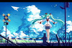 1girl ^_^ absurdres aqua_hair baisi_shaonian closed_eyes cloud hair_ribbon hatsune_miku highres legs long_hair navel outstretched_arms paper_airplane railroad_crossing ribbon sailor_collar short_sleeves shorts sky solo twintails very_long_hair vocaloid
