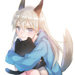 1girl animal_ears blonde_hair blue_eyes blush eila_ilmatar_juutilainen frown highres hood hoodie hug knees_to_chest leg_hug long_hair object_hug sitting solo strike_witches stuffed_animal stuffed_cat stuffed_toy tail world_witches_series yamori_(stom)