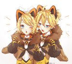 1boy 1girl ;o bangs black_gloves blonde_hair brother_and_sister brown_jacket commentary eyebrows_visible_through_hair facial_mark fur-trimmed_sleeves fur_trim gloves hair_between_eyes hair_ornament hairclip jacket kagamine_len kagamine_rin kagamirror02 magical_mirai_(vocaloid) one_eye_closed open_clothes open_jacket open_mouth shiny shiny_hair shirt short_hair short_ponytail siblings swept_bangs twitter_username upper_body vocaloid white_shirt